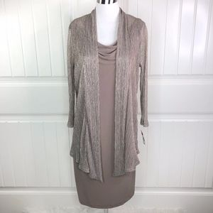 Connected Apparel Metallic Taupe Mock Jacket Dress